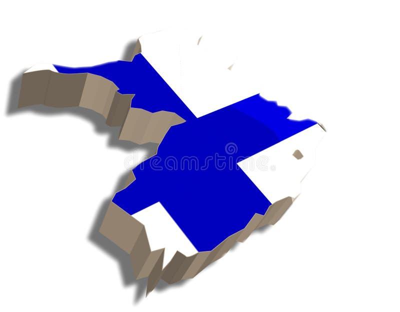 3D kaart van Finland stock illustratie