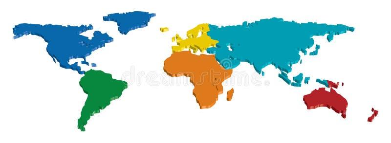 3D kaart van het Continent van de Wereld van de Kleur vector illustratie