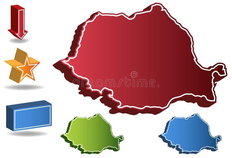 3D Kaart van het Land van Roemenië royalty-vrije illustratie