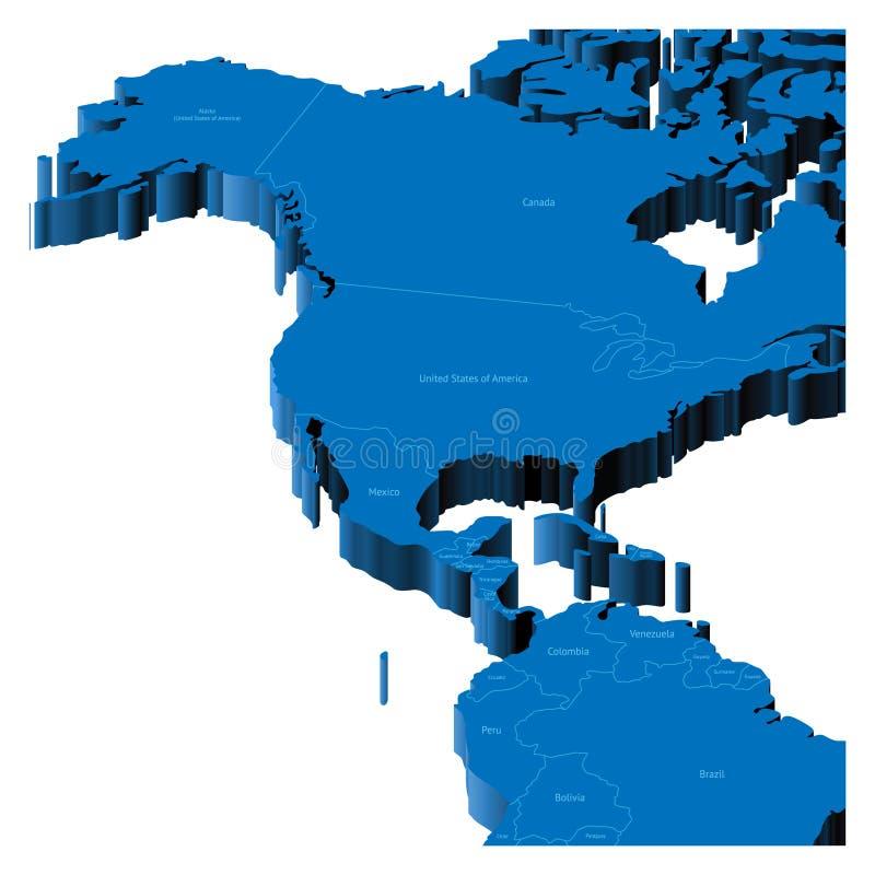 3d kaart van Verenigde Staten en Midden-Amerika