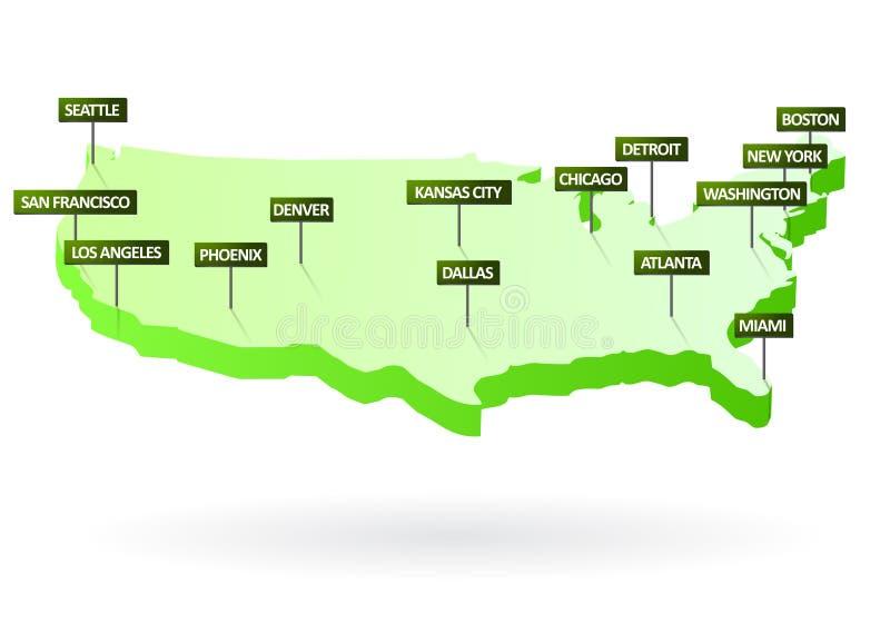 3d kaart van Verenigde Staten met steden royalty-vrije illustratie