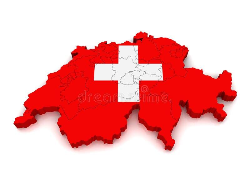 3D Kaart van Zwitserland stock illustratie