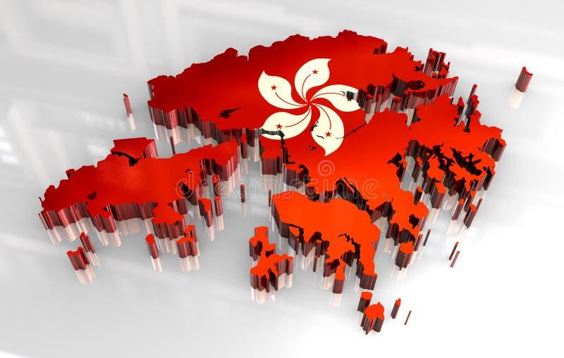 3d kaartvlag van Hongkong royalty-vrije illustratie