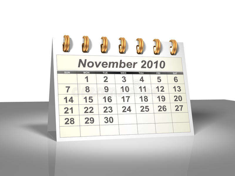 (3D) Kalender van de Desktop. November, 2010. royalty-vrije illustratie