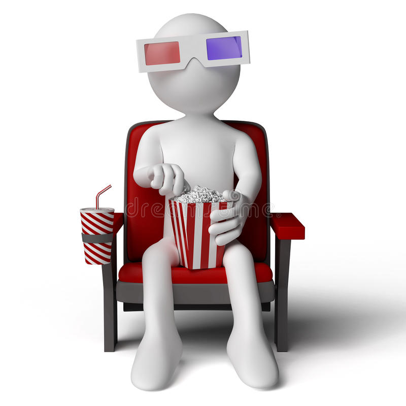 3d karła obsiadanie kinowy ludzki ilustracji