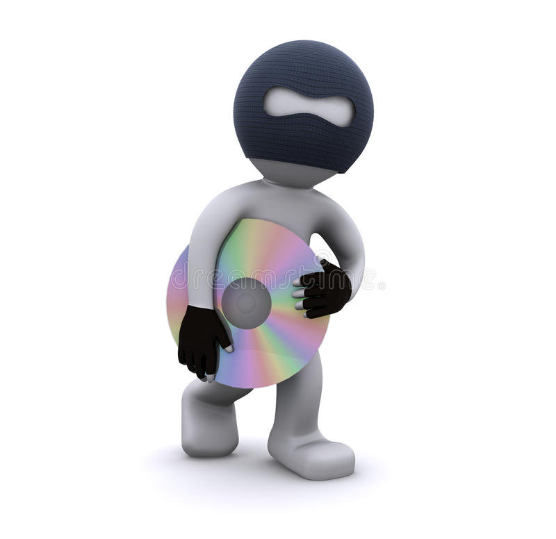 3d karakter dat CD steelt. De piraterijconcept van de computer stock illustratie