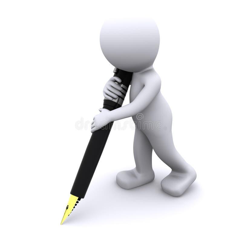 3d karakter, dat met grote pen schrijft stock illustratie
