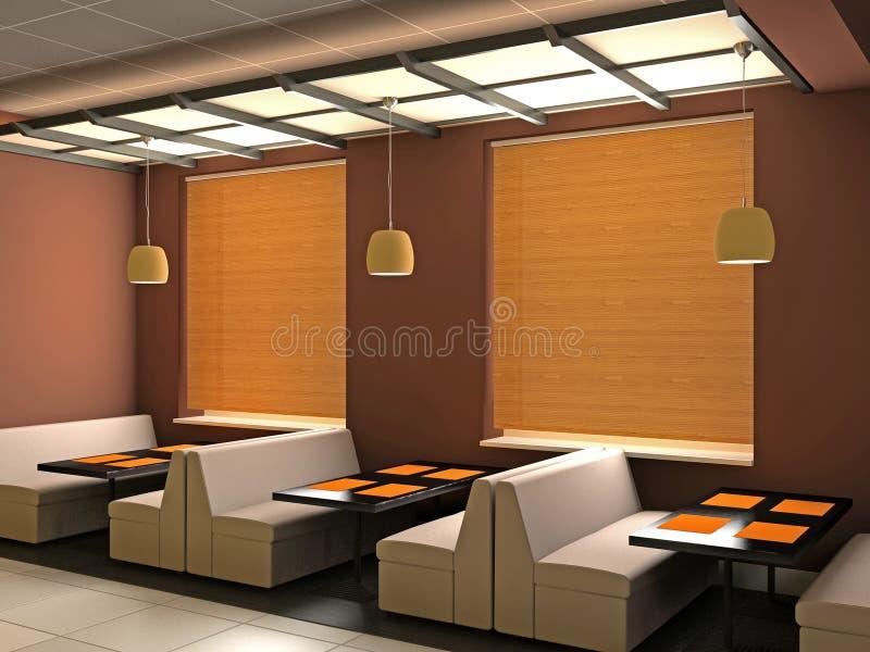 3d kawiarni wnętrze royalty ilustracja