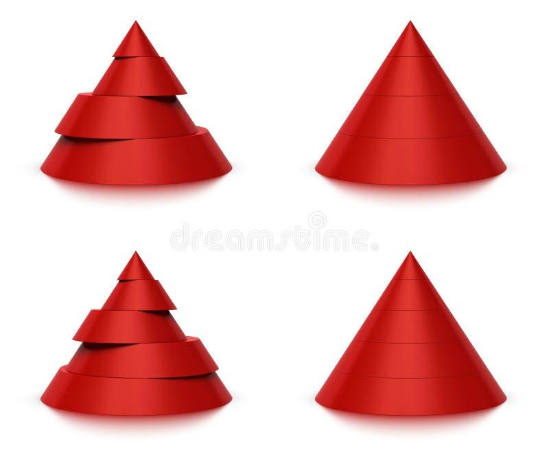 3d kegelvorm 4 of 5 niveaus vector illustratie