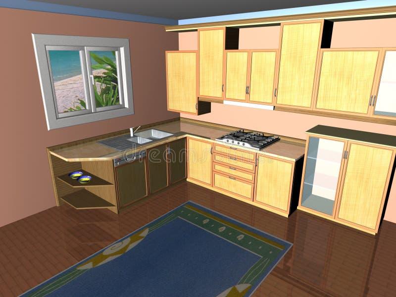 3D Keuken geeft terug vector illustratie