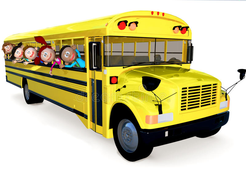 Download 3D kids in a school bus stock illustration. Illustration of cheerful - 27395439
