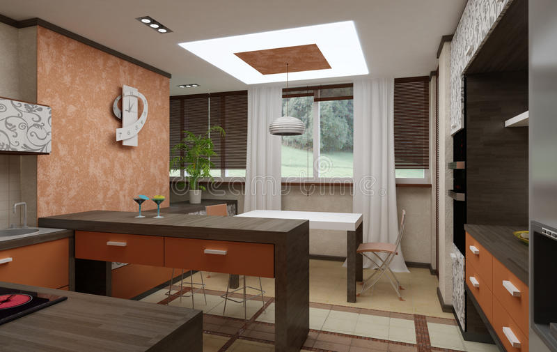3D kitchen interior stock photo