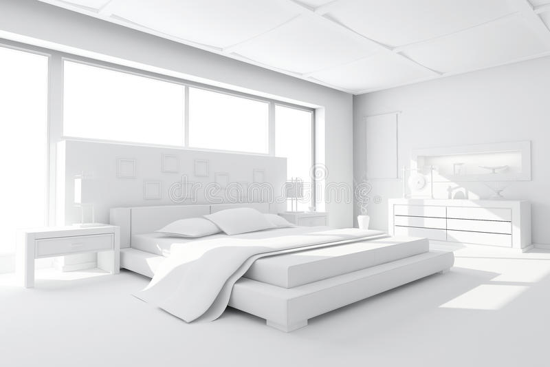 3d Klei Geeft Van Een Moderne Slaapkamer Terug Stock