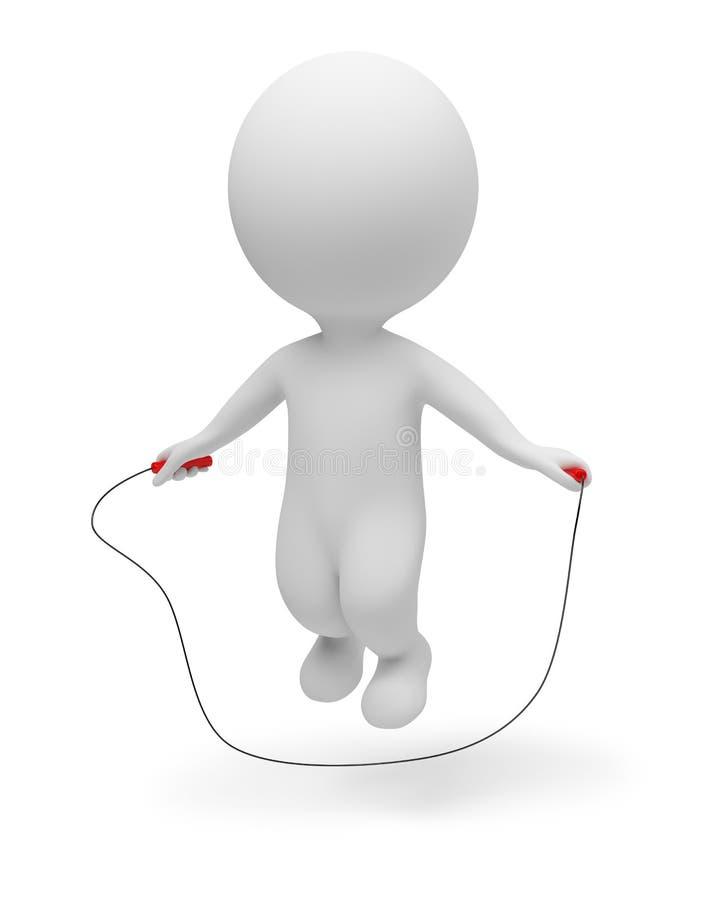 3d kleine Leute - überspringendes Seil vektor abbildung