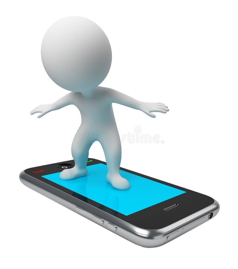 3d kleine Leute - Flug am Telefon vektor abbildung