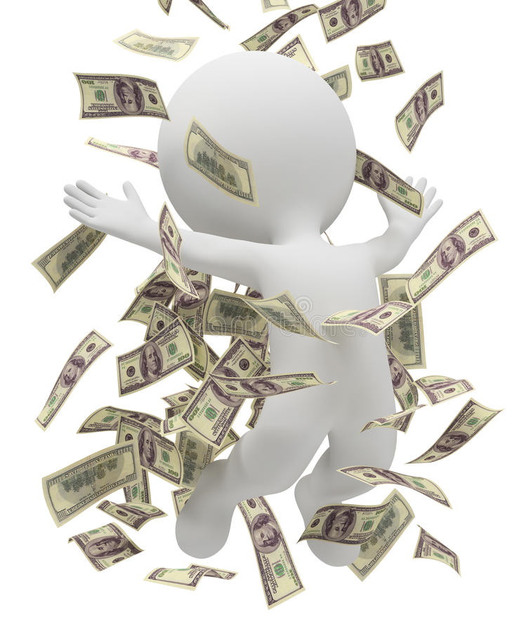 3d kleine Leute - Geldregen stock abbildung