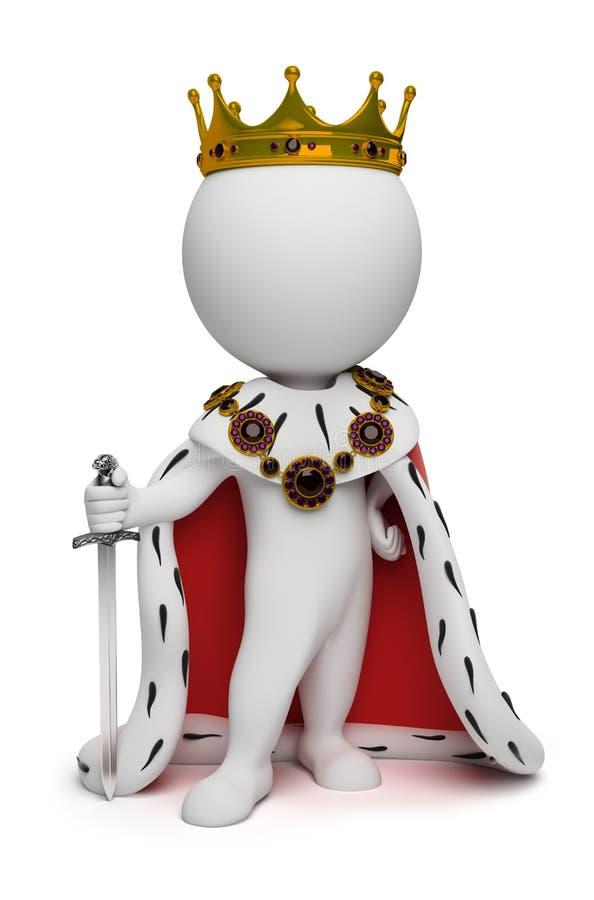 3d kleine Leute - König stock abbildung