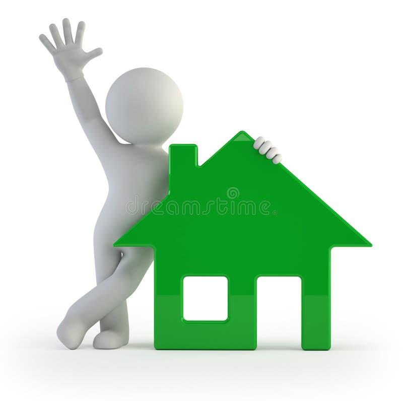 3d kleine Leute - mein Haus stock abbildung