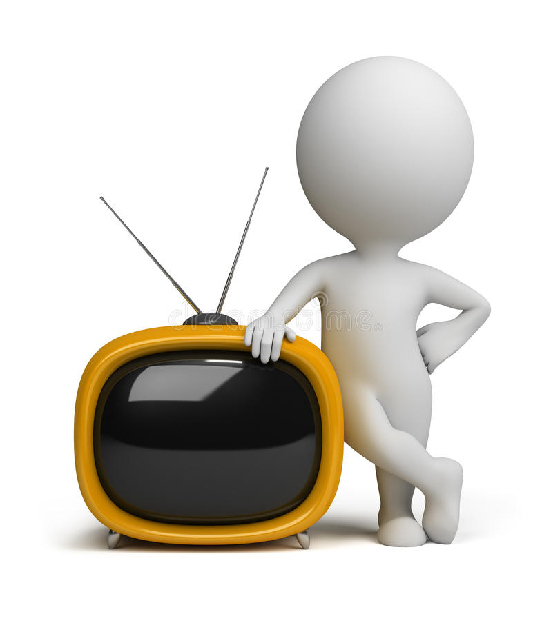 3d kleine Leute - Retro- Fernsehapparat lizenzfreie abbildung