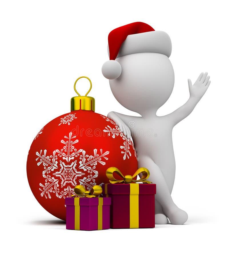3d kleine Leute - Sankt mit Geschenken lizenzfreie abbildung