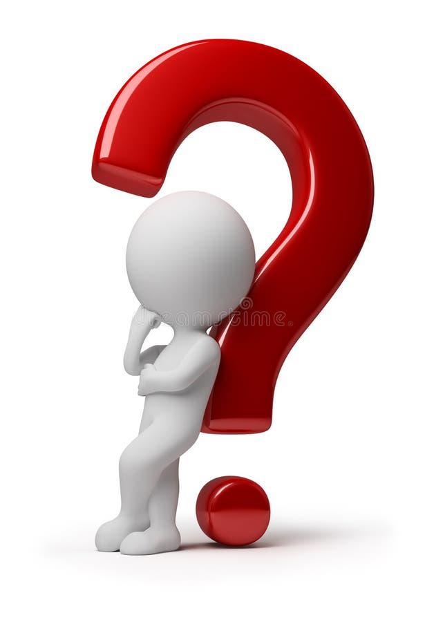 3d kleine Leute - schwierige Frage stock abbildung