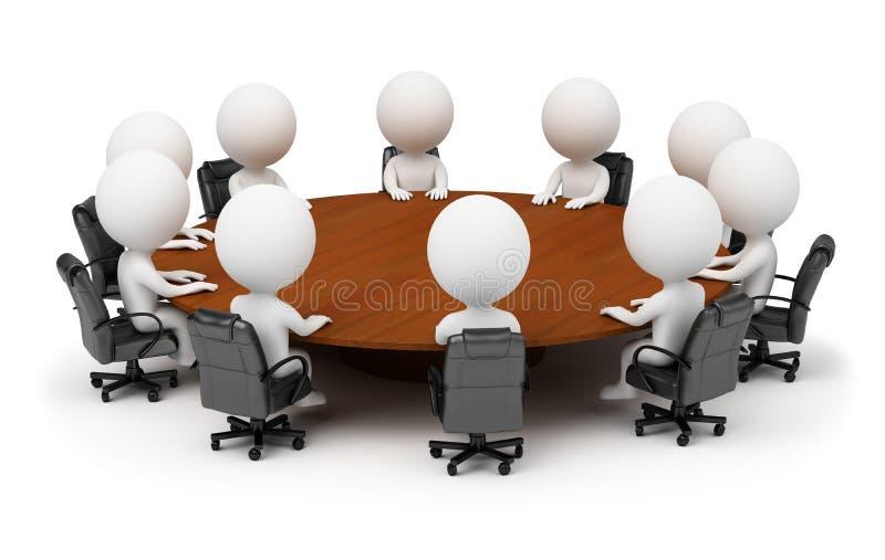 3d kleine Leute - Sitzung hinter einer runden Tabelle stock abbildung