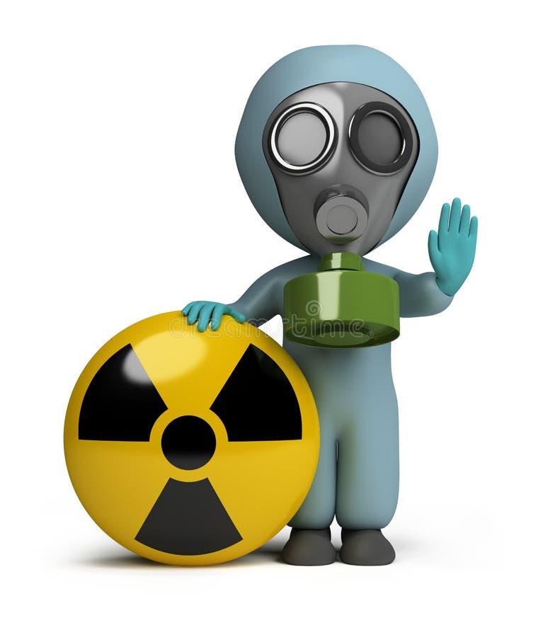 3d kleine Leute - Strahlung stock abbildung