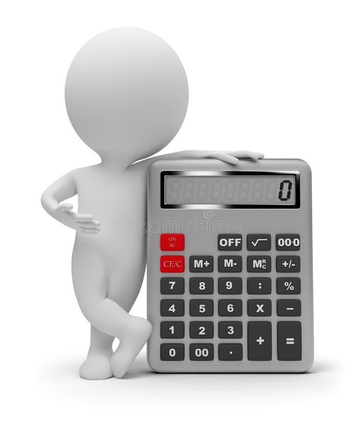 3d kleine mensen - calculator vector illustratie