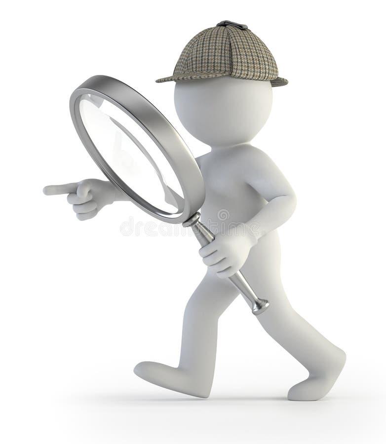 3d kleine mensen - detective royalty-vrije illustratie