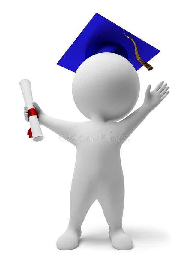 3d kleine mensen - diploma stock illustratie