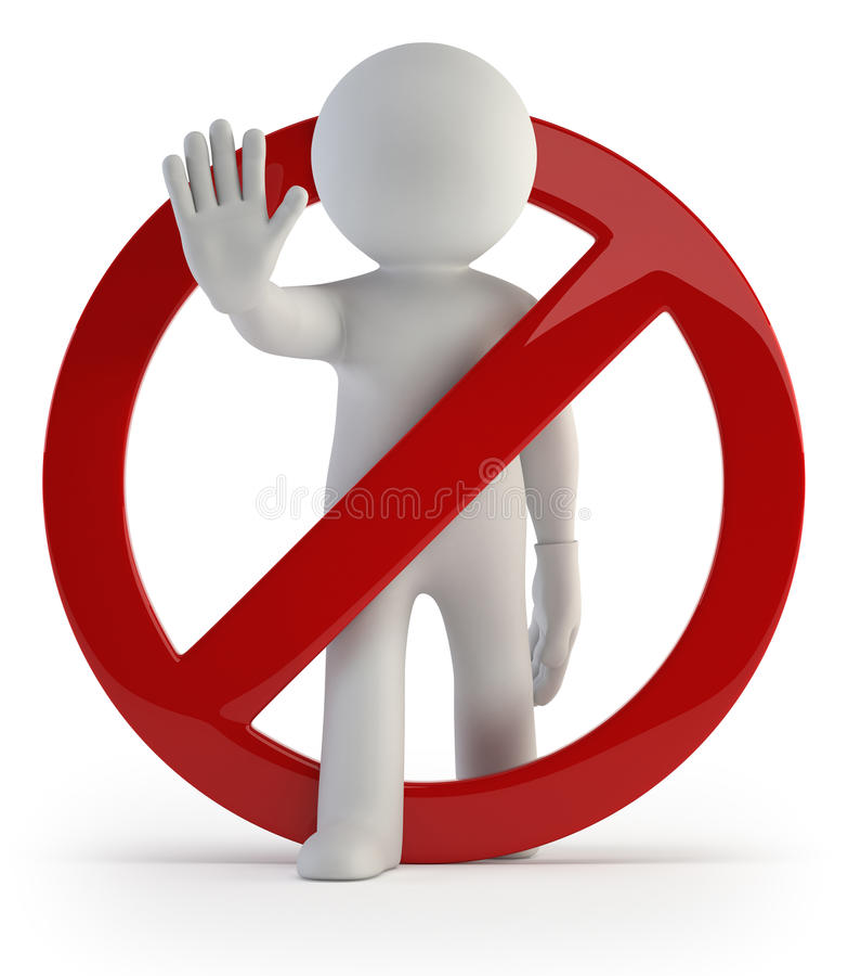 3d kleine mensen - doe het niet! royalty-vrije illustratie