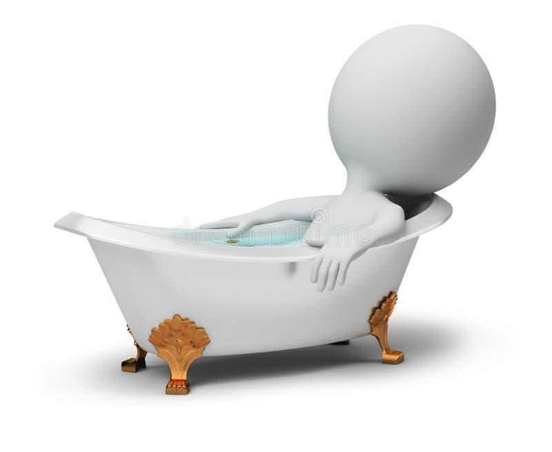 3d kleine mensen - in een bad vector illustratie