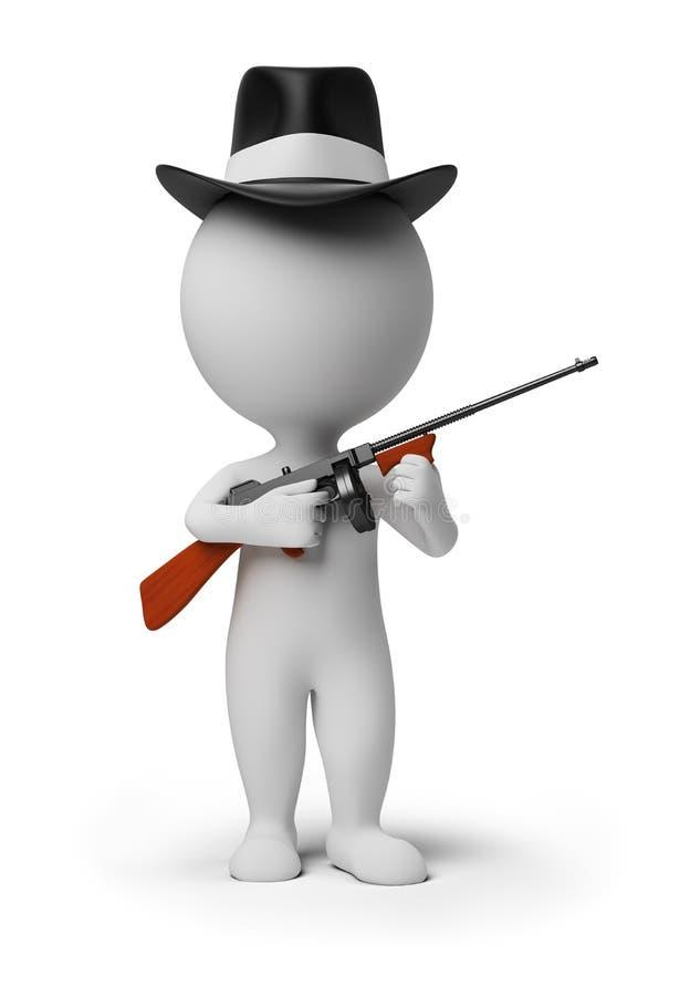 3d kleine mensen - gangster royalty-vrije illustratie