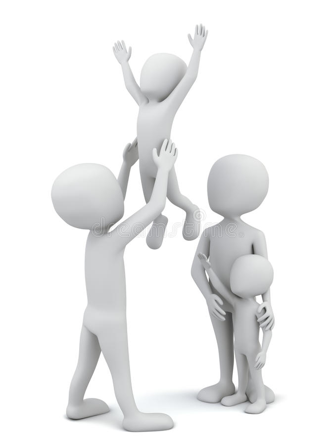 3d kleine mensen-gelukkige familie. vector illustratie