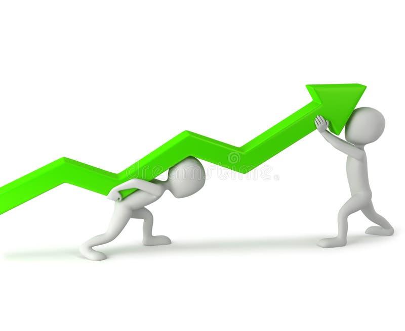 3d kleine mensen - hef de statistieken op. vector illustratie