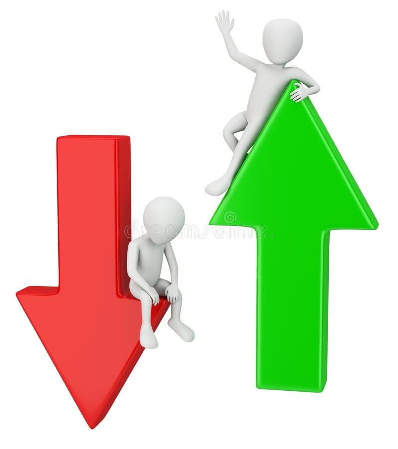 3d kleine mensen - het succes en de daling. royalty-vrije illustratie