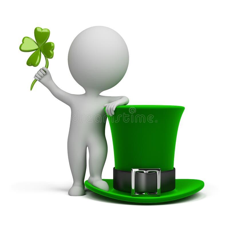 3d kleine mensen - hoed van Heilige Patrick vector illustratie