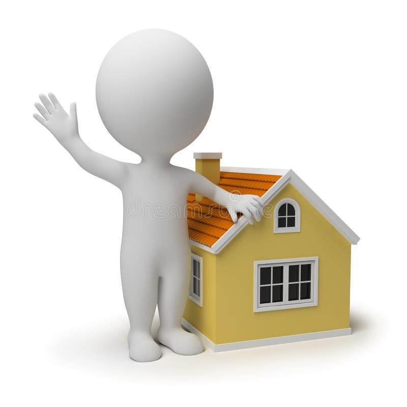 3d kleine mensen - huis stock illustratie