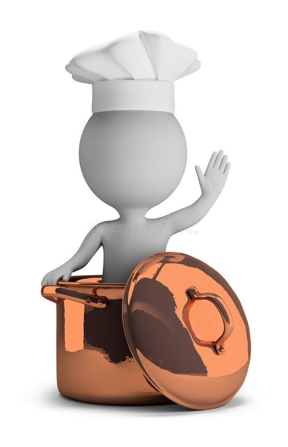 3d kleine mensen - kok in een koperpan stock illustratie