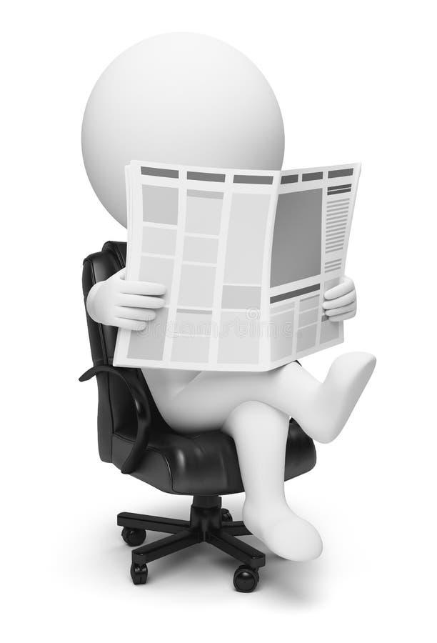 3d kleine mensen - krant royalty-vrije illustratie