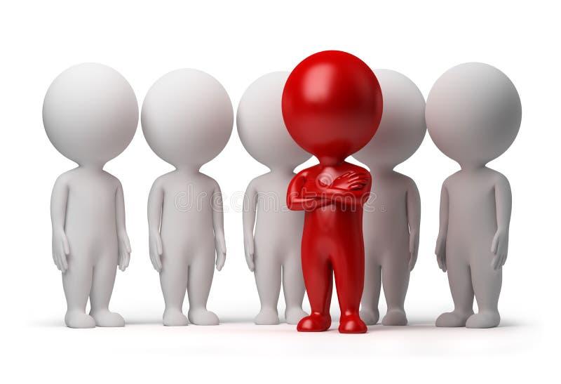 3d kleine mensen - leider van een team stock illustratie