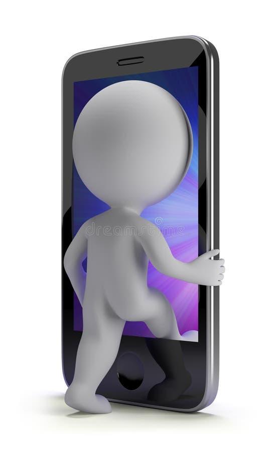 3d kleine mensen - login aan uw telefoon royalty-vrije illustratie
