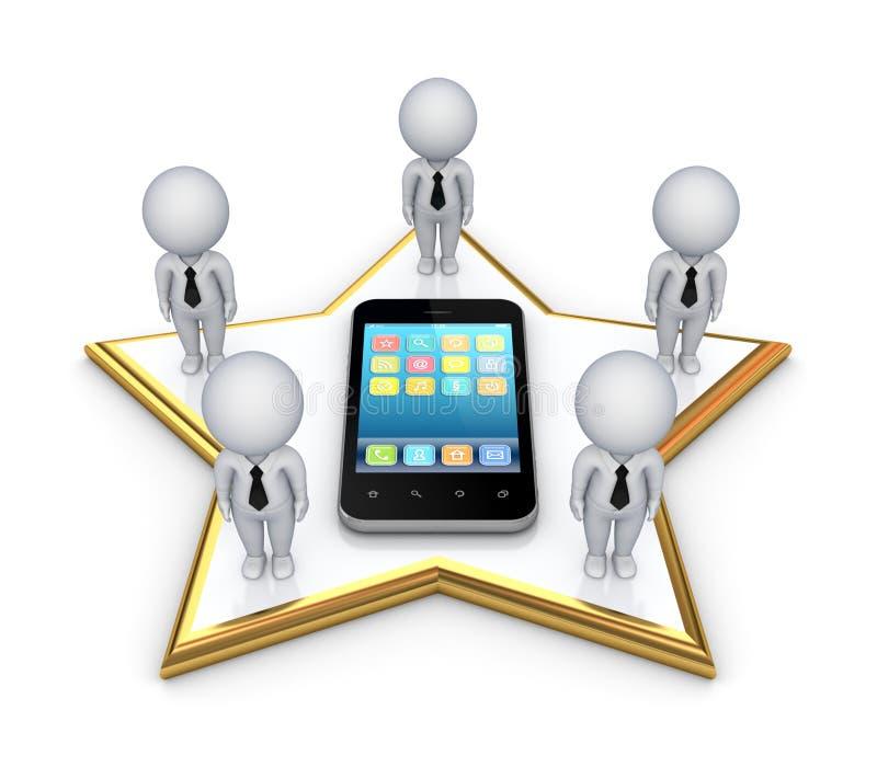 3d kleine mensen op een ster en een moderne mobiele telefoon. stock illustratie