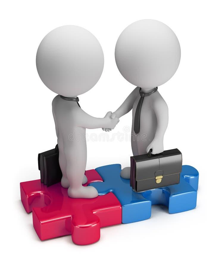 3d kleine mensen - overeenkomst stock illustratie