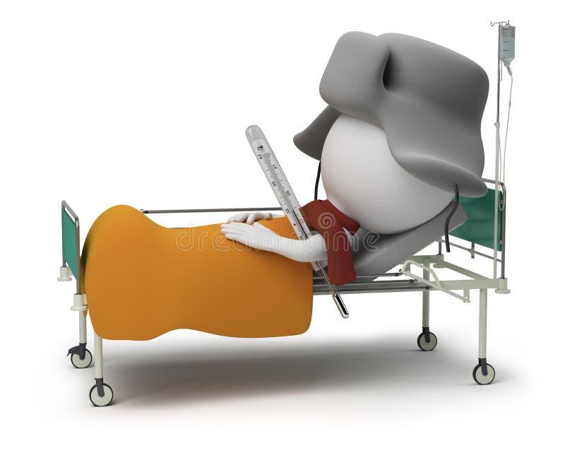3d kleine mensen - patiënt stock illustratie