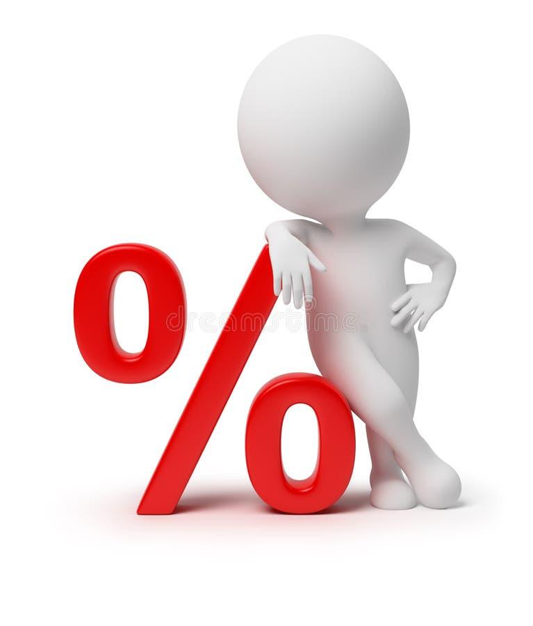 3d kleine mensen - percenten stock illustratie