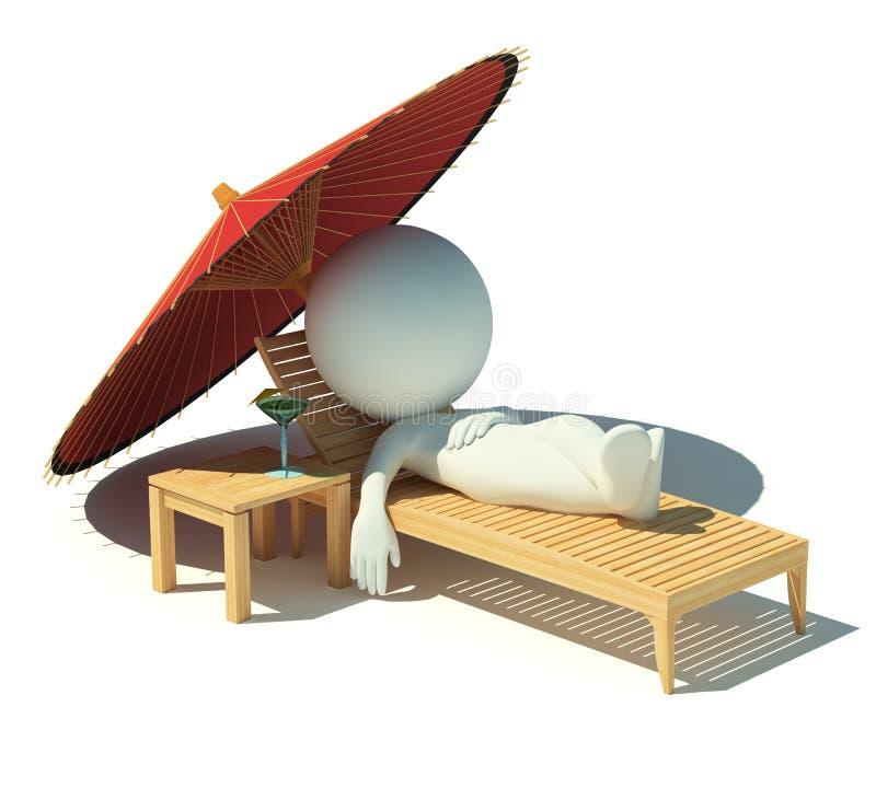 3d kleine mensen - rust op een chaise zitkamer vector illustratie