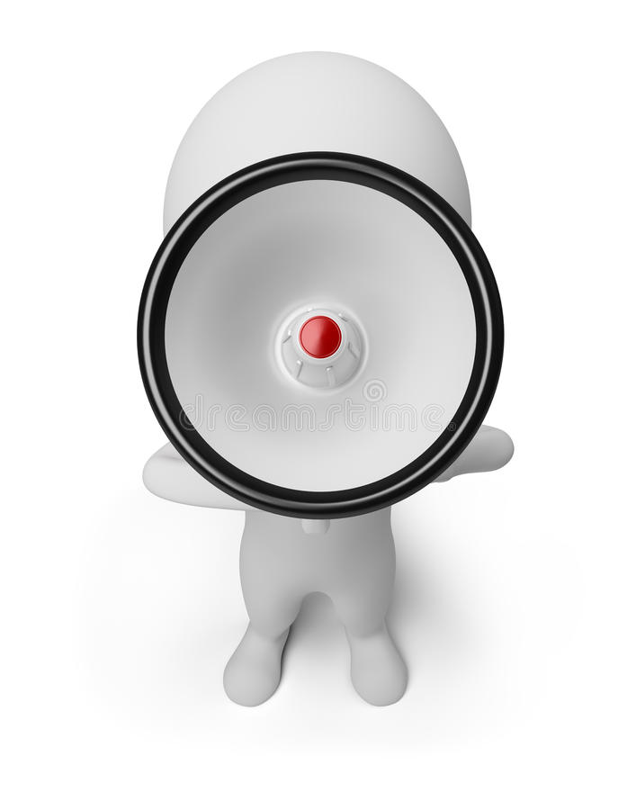 3d kleine mensen - schreeuwen in een megafoon royalty-vrije illustratie