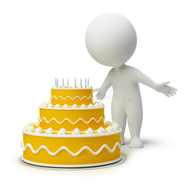 3d kleine mensen - verjaardagscake stock illustratie