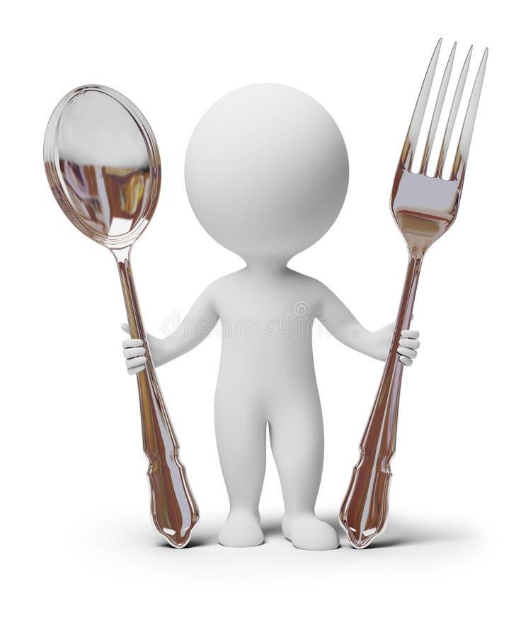 3d kleine mensen - vork en lepel stock illustratie